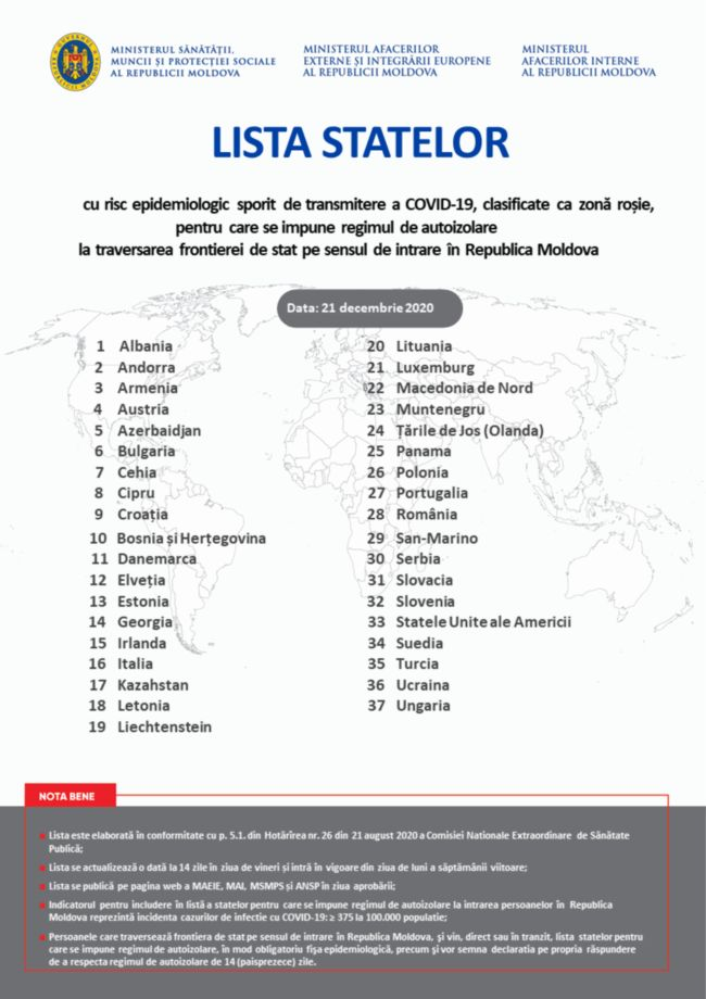 Молдова обновила список стран «Красной зоны» на следующие две недели. В нем нет России