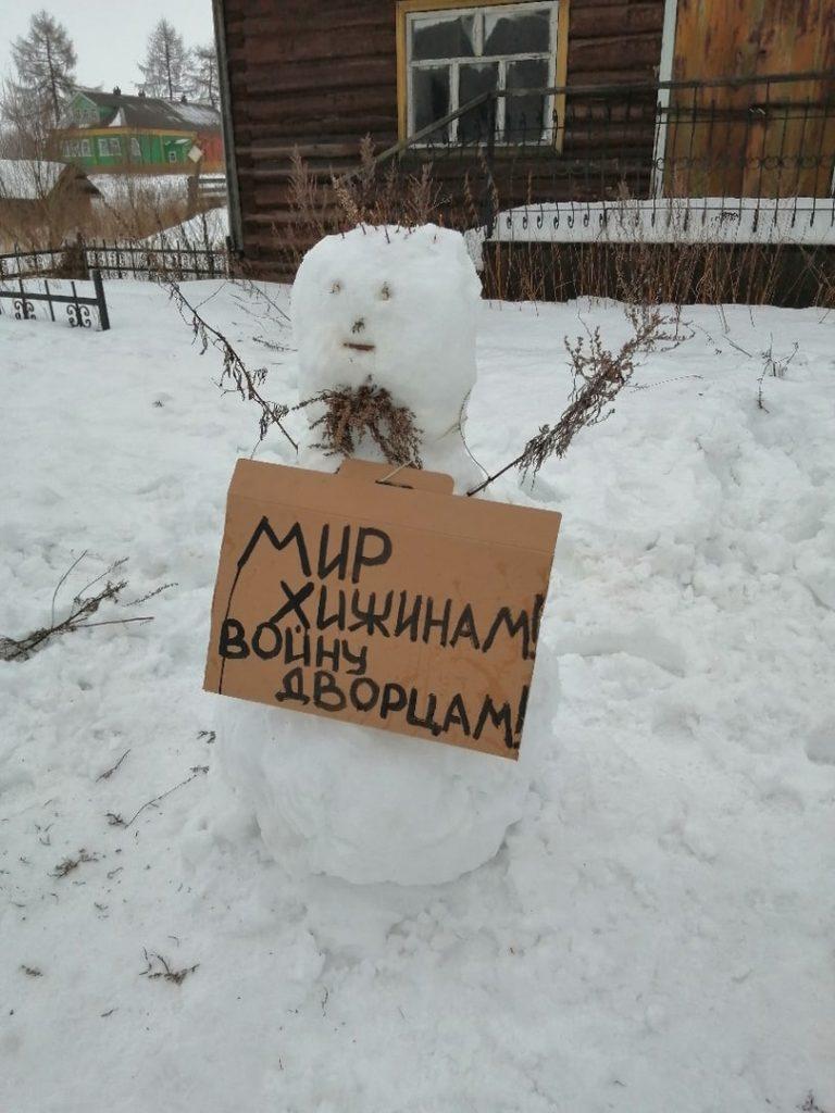В Архангельске полиция приехала на «митинг» снеговиков (фото)