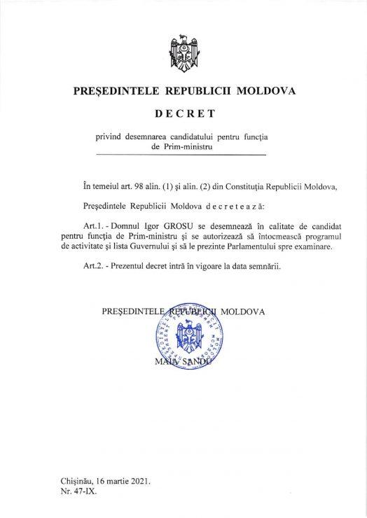 Санду подписала указ о назначении Игоря Гросу премьер-министром
