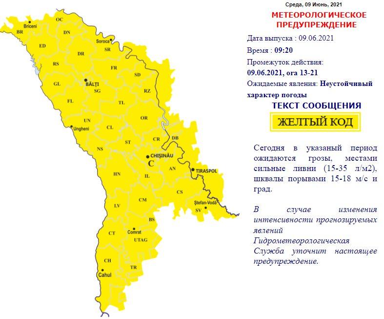 """На Молдову надвигаются ливни с грозами. Объявлен """"желтый"""" код"""