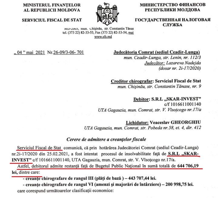 Расследование MoldovaCurată: Как фирма мунсоветника Комрата Степана Кара задолжала 3,6 млн леев, в том числе налоговой службе